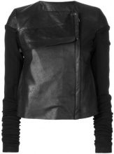 Rick Owens - fitted jacket - women - Cotton/Polyamide/Lamb Skin/Silk - 42, 44 - BLACK