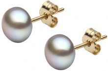 Kimura Pearls 18 carati oro giallo Rotonda A bottone perla cinesa da coltivazione grigio Perla