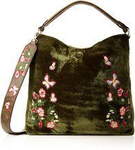 SwankySwans Daria Velvet Reversible Bag - Borse a spalla Donna, Verde (Olive), 12x24x24 cm (W x H x L)