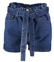 Petite Beth Paper Bag Waist Denim Shorts
