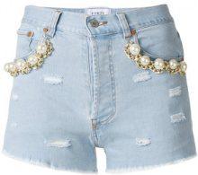 Forte Dei Marmi Couture - Shorts decorati con perle - women - Cotton - 27, 24, 25, 26, 28 - BLUE