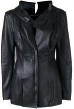 Yohji Yamamoto Vintage - Giacca aderente - women - Leather/Cupro - S - BLACK