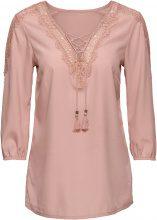 Blusa con stringatura e pizzo (rosa) - BODYFLIRT