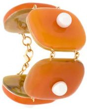 Marni - Bracciale rigido - women - Brass/plastic - One Size - YELLOW & ORANGE
