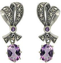 Esse Marcasite-Collana in argento Sterling con ametista e Marcasite-Orecchini pendenti a forma di fiocco, stile Art Nouveau