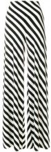 Norma Kamali - striped palazzo trousers - women - Polyester/Spandex/Elastane - S - BLACK