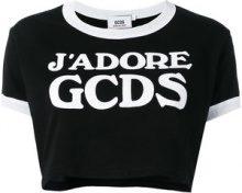 Gcds - logo cropped T-shirt - women - Cotton - XS, M, L, XL - BLACK