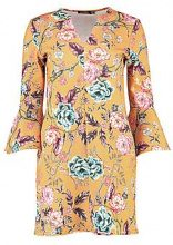 Izi Autumnal Floral V Neck Front Shift Dress