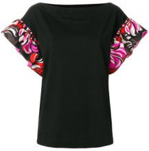 Emilio Pucci - frill-sleeve top - women - Silk/Cotton - XS, S, M, L - BLACK