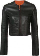 Dvf Diane Von Furstenberg - collarless leather jacket - women - Lamb Skin - XS, S, M, L - BLACK