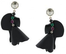 Marni - embellished flower earrings - women - Calf Leather - OS - BLACK