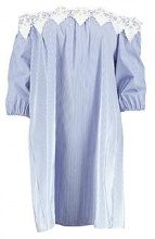 Shayla Stripe Off Shoulder Lace Dress