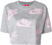 Nike - cropped logo T-shirt - women - Cotton - S - GREY