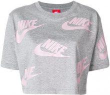 Nike - cropped logo T-shirt - women - Cotton - S - GREY