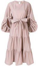 Erika Cavallini - frilled belted dress - women - Cotton - 42 - PINK & PURPLE