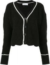 Le Ciel Bleu - contrast trim knitted cardigan - women - Cotton/Acrylic - 36 - BLACK