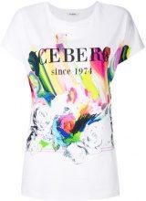Iceberg - T-shirt con logo e motivo rose - women - Cotone - 40 - Bianco
