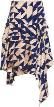 P O S T Y R Silk Asymmetrical Ruffled Skirt Women Brown