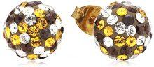 Crystelle 340310335 - Orecchini a lobo da donna con cristallo Swarovski, oro giallo 9k (375)