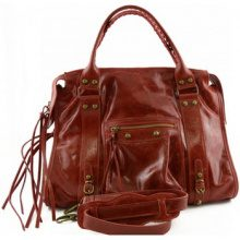 Borsa a spalla Dream Leather Bags Made In Italy  Borsa Donna In Vera Pelle Con Borchie E Lacci Colore Rosso - Pel