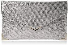 SwankySwansKorie Glitter Envelope Party Prom Clutch Bag - Sacchetto Donna , Grigio (Grey (Grey)), Taglia unica
