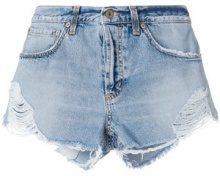 Dondup - frayed denim shorts - women - Cotton/Polyester - 26, 27, 28, 29 - BLUE