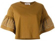 See By Chloé - T-shirt con maniche svasate - women - Cotton - M - BROWN