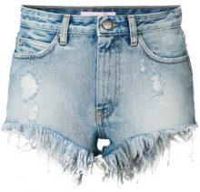 Palm Angels - frayed denim shorts - women - Cotton/Polyester - 26 - BLUE