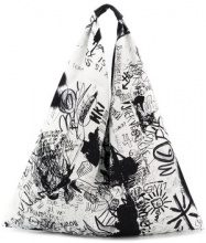 Mm6 Maison Margiela - drawing print shoulder bag - women - Calf Leather/Cotton/Polyester - OS - WHITE