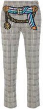 Marco De Vincenzo - houndstooth patch belt trousers - women - Cotton/Polyamide/Spandex/Elastane - 38, 40, 42, 44, 46 - BLACK