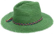 Inverni - frayed trim woven hat - women - Cotton/Hemp - OS - GREEN