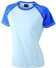 James & Nicholson Ladies' Raglan-T, T-Shirt Donna, Mehrfarbig (White-Royal), 40