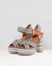 Glamorous - Sandali stile espadrilles a righe con tacco e plateau - Cuoio