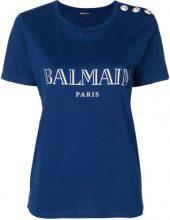 Balmain - T-shirt con logo stampato - women - Cotton - 38 - BLUE