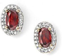 Elements Donna  9cts (375)  Oro giallo Ovale   rosso Granato Diamante FINEEARRING