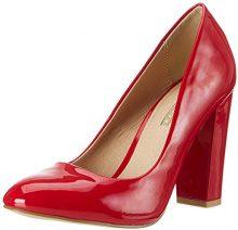 Buffalo Shoes C354A-1 P2010L Patent, Scarpe Col Tacco con Cinturino a T Donna, Rosso (Red), 39 EU