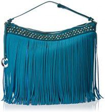 Lola Casademunt BL5319, Borsa con Frange Donna, Blu (Blue), 17x34x43 cm (W x H x L)
