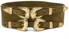 B-Low The Belt - double buckle belt - women - Calf Leather/metal - M - Verde