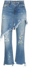 R13 - Jeans 'Double Classic Shredded' - women - Cotton/Leather - 25, 26, 27, 24, 28, 29 - unavailable