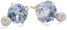 Merii-Orecchini a perno da donna in argento Sterling 925 placcato al rodio, con pietra di spinello blu M0707E/90/77