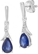 Naava Donna  9 carati  oro bianco Rotonda   blu Zaffiro Diamante