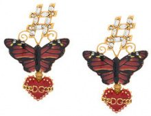 Dolce & Gabbana - Orecchini con farfalla e cuore - women - Brass/Crystal/Enamel - OS - RED