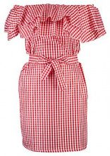 Hollie Gingham Ruffle Off Shoulder Dress