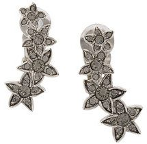 Oscar de la Renta - star fish clip-on crystal earrings - women - Crystal/Brass/Pewter - OS - GREY