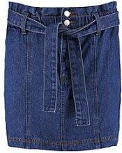 Gaby Paperbag Waist Denim Skirt