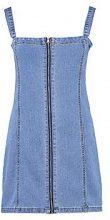 Luna Zip Through Denim Pinafore Dress