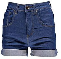 Corina pantaloncini di jeans a vita alta con risvolto