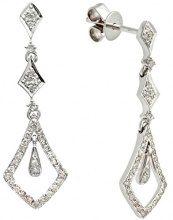 Naava Orecchini Pendenti da Donna, Oro Bianco, 9 Carati, Diamante