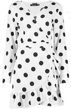 Morine Large Spot Ruffle Wrap Tea Dress