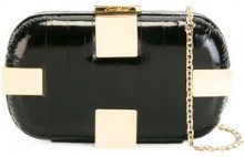 Corto Moltedo - Susan Shock clutch bag - women - Brass/Eel Skin/Silk Satin - One Size - Nero